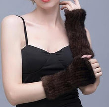 Load image into Gallery viewer, Unisex Knitted Mink Fur Fingerless Gloves (Black or Coffee) - fetefurcoats