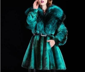 Classic Mink Fur Swing Coat with Fox Fur Collar (Emerald or Ruby) - fetefurcoats