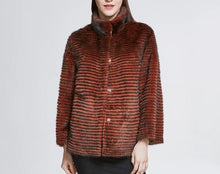 Load image into Gallery viewer, Knitted Mink Fur High Street Jacket - Coral Red - fetefurcoats
