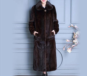 Natural Mink Fur Long Coat w/ Turn-down Collar
