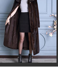 Load image into Gallery viewer, Natural Mink Fur Long Coat w/ Turn-down Collar