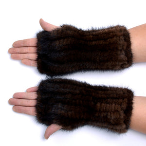 Unisex Knitted Mink Fur Fingerless Gloves (Black or Coffee) - fetefurcoats