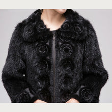 Load image into Gallery viewer, Knitted Mink Fur Jacket w/ Flower Trim (Black) - fetefurcoats