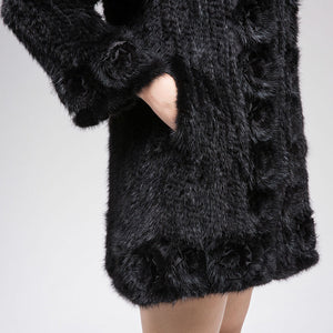 Knitted Mink Fur Jacket w/ Flower Trim (Black) - fetefurcoats