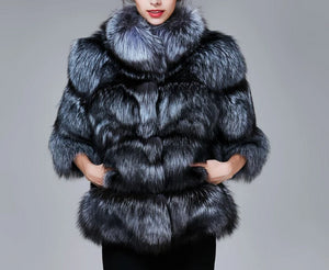 Silver Fox Fur High Street Jacket - Natural - fetefurcoats