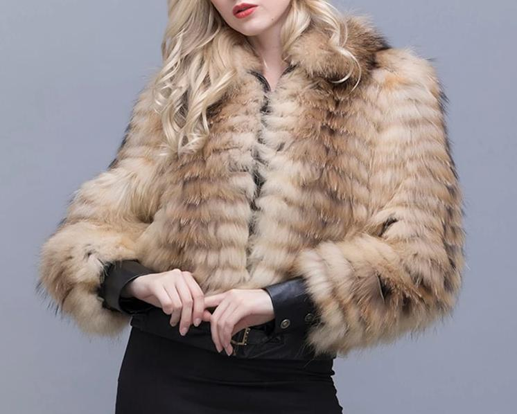 Knitted Asiatic Raccoon Fur Bomber Jacket (Champagne) - fetefurcoats