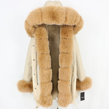 Load image into Gallery viewer, Camel Parka with Fox Fur Trim (Varied Fur Colors)