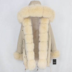 Camel Parka with Fox Fur Trim (Varied Fur Colors)