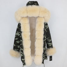 Load image into Gallery viewer, Camouflage Parka with Fox Fur Trim (Beige or Grey Fur)