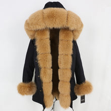 Load image into Gallery viewer, Black Parka with Fox Fur Trim (Varied Fur Colors)
