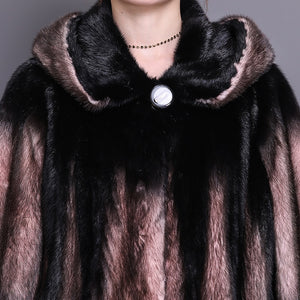 Classic Long Natural Mink Fur Coat with Hood - fetefurcoats
