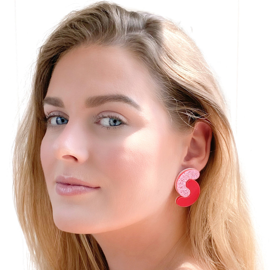 Glitter Cherry Chew Chew Earrings