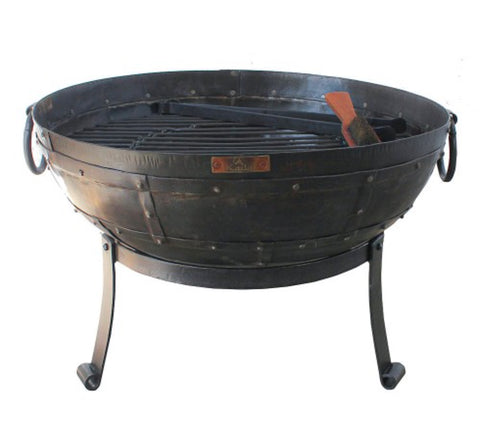 Recycled Kadai Firebowl on Low Stand