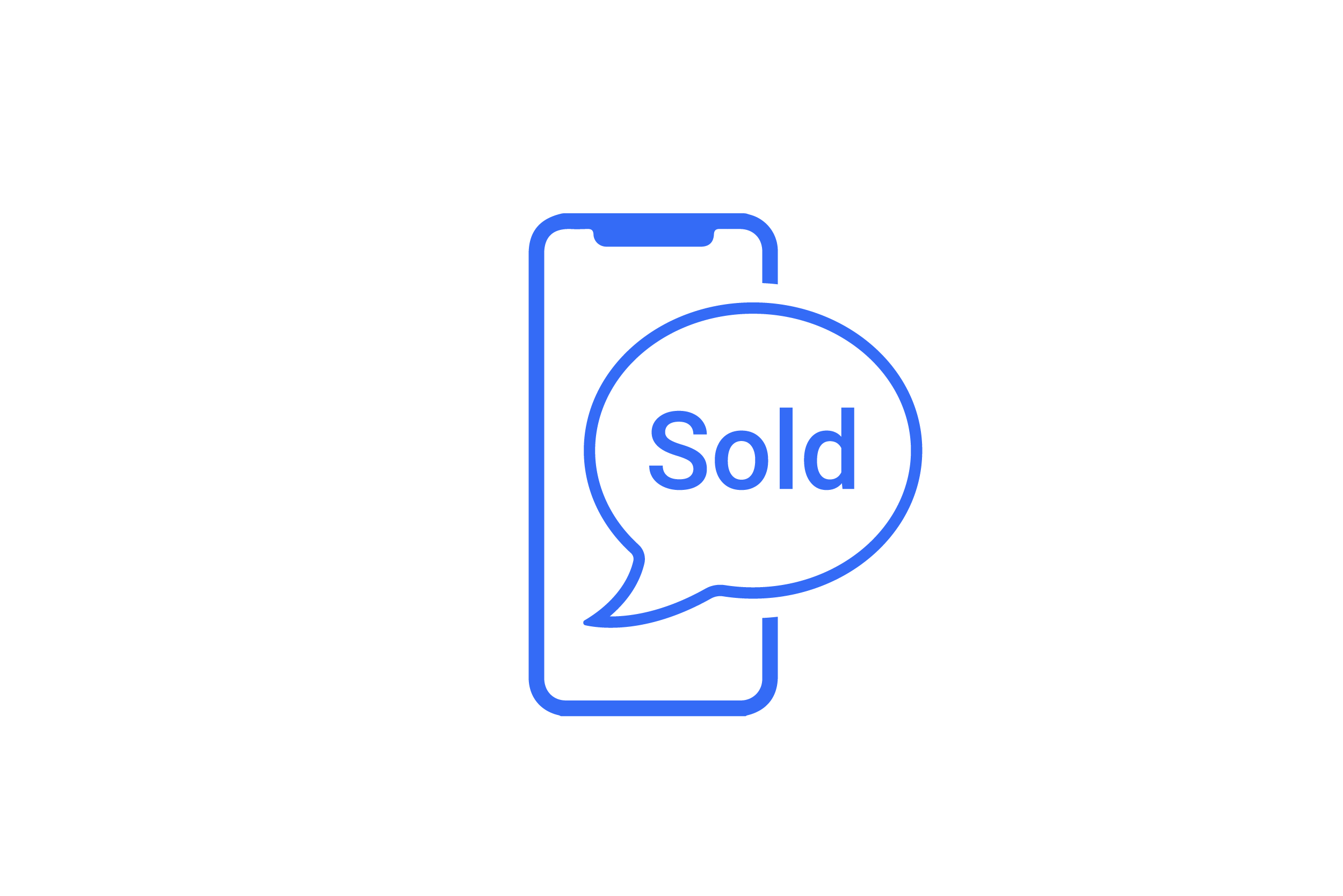 Sell. iPhone with 'Sold' speech bubble inside of it.
