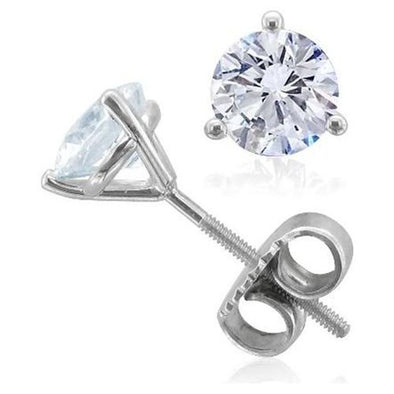 Certified Round-Cut Diamond Solitaire 3 Prong Stud Earrings (I/VS2)