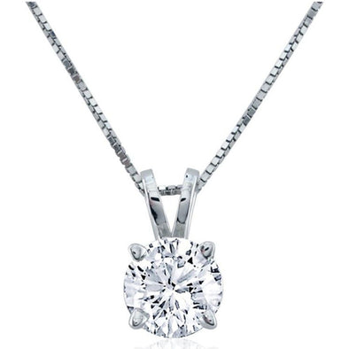 Certified Round-Cut Diamond Solitaire Pendant (I/VS2)
