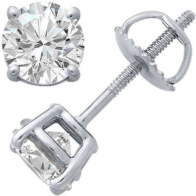 Certified Round-Cut Diamond Solitaire 4 Prong Stud Earrings (I/VS2)