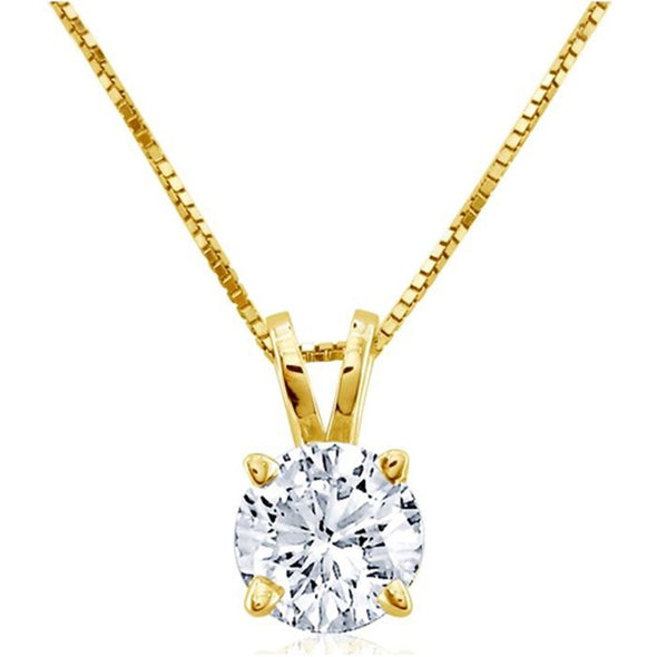 Certified Diamond Round Cut Solitaire Pendant (I/SI2)