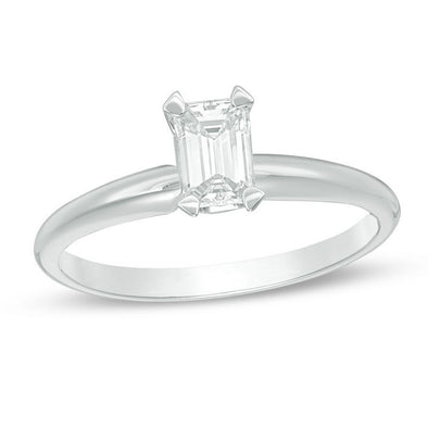 Certified Emerald-Cut Diamond Solitaire Engagement Ring (I/VS2)