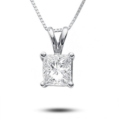 Certified Princess-Cut Diamond Solitaire Pendant (I/SI2)