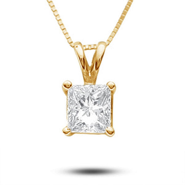Certified Princess-Cut Diamond Solitaire Pendant (I/VS2)