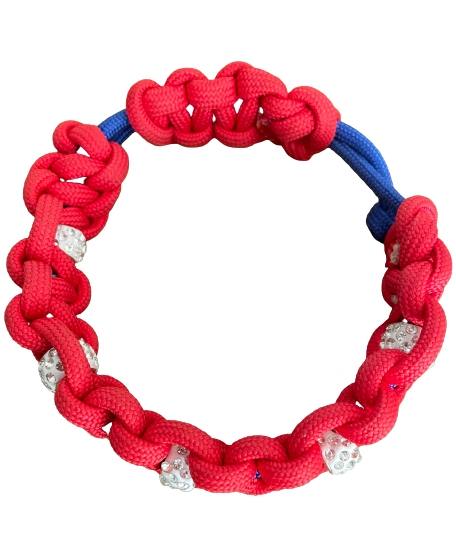 Paracord Hundehalsband zum verstellen mit Strass Elementen - ohne O Ring by Puppyfashion