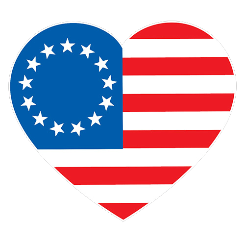 Betsy Ross Heart Shaped American Flag
