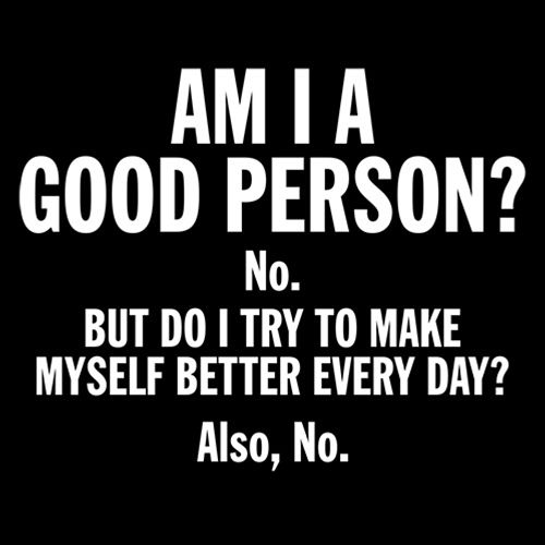 Am I A Good Person? No. But Do I Try To Make Myself Better Every Day? Also, No.