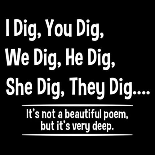 I Dig, You Dig, We Dig, He Dig, She Dig, They Dig....It's Not A Beautiful Poem