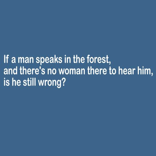If A Man Speaks In The Forest And There's No Woman To Hear Him, Is He Still Wrong