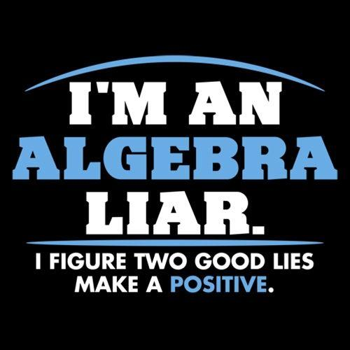 I'm An Algebra Liar. I Figure Two Good Lies Make A Positive.