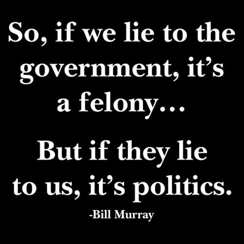 So, If We Lie To The Government, It'S A Felony But If They Lie To Us, It'S Politics