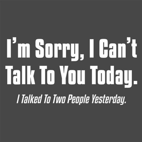 I'm Sorry, I Can'T Talk To You Today. I Talked To Two People Yesterday