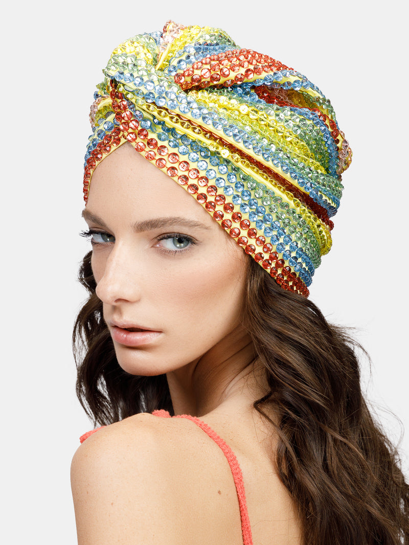 colorful high embellished luxury turban designed by Maryjane Claverol