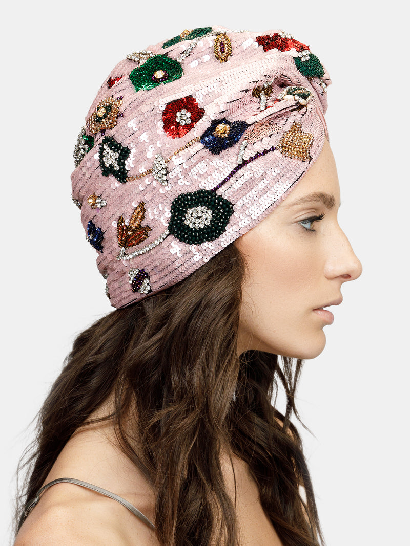 High embellished turban with flower motif designed by Maryjane Claverol