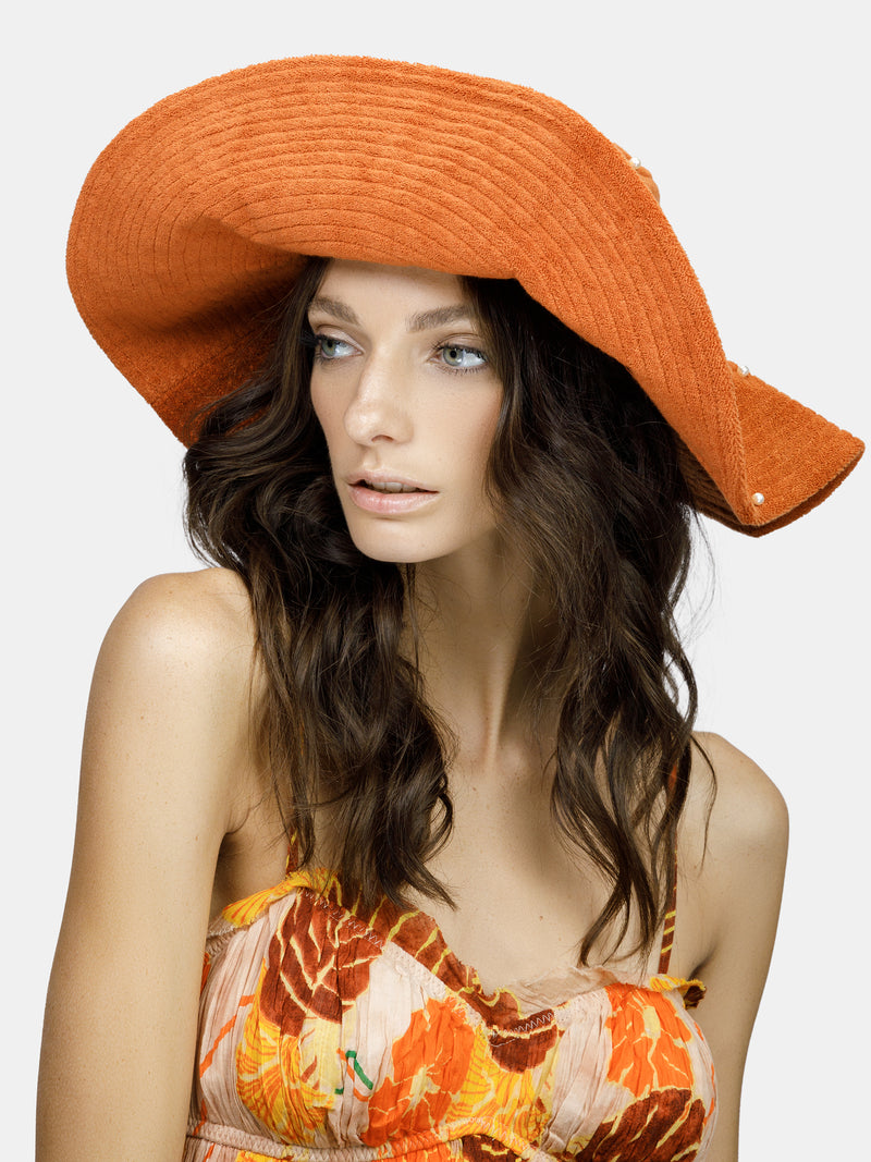 Pearl embellished summer bucket hat deisgned by Maryjane Claverol
