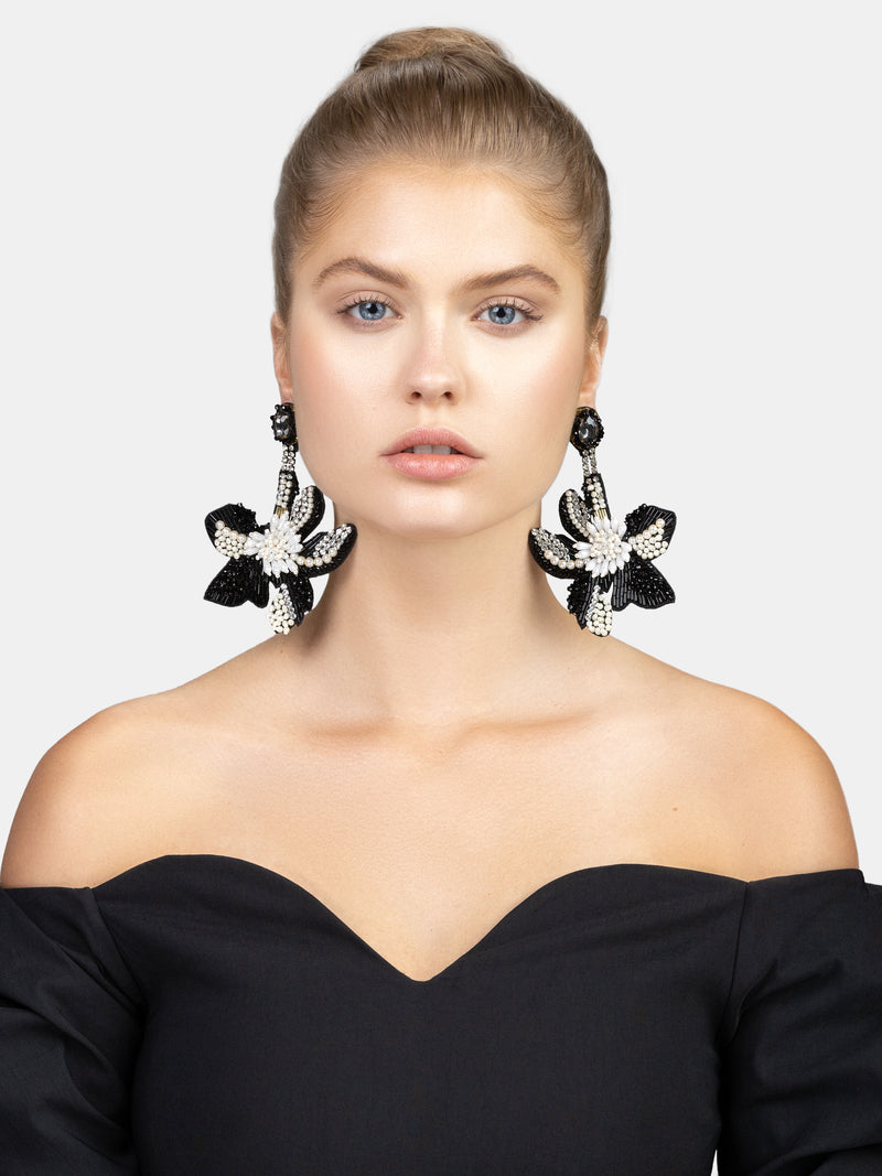 feather weight hand embroidered flower maxi earrings designed by Maryjane Claverol