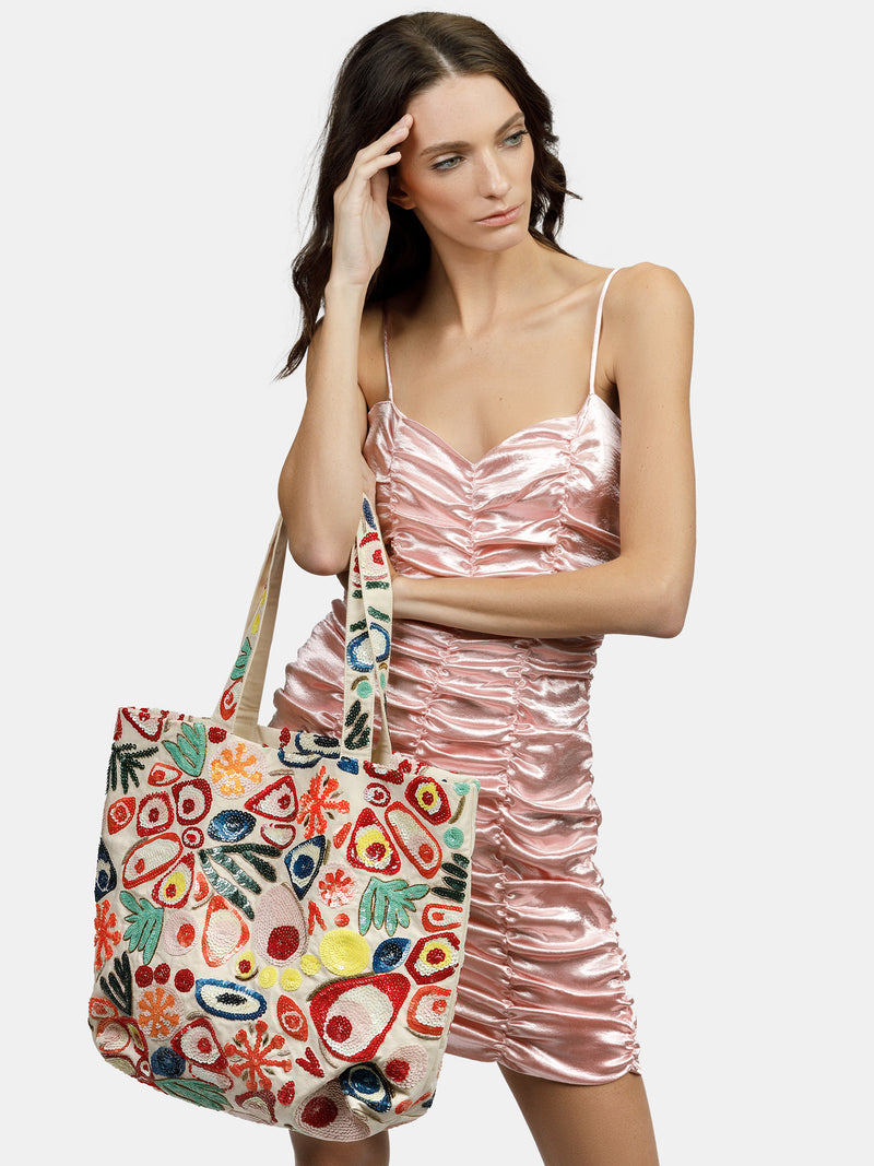 Functional and stylish high embellished shopper bag designed by Maryjane Claverol.