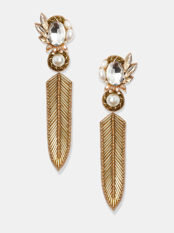 hand made earrings in gold and crystal stones designed by Maryjane Claverol