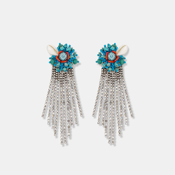 Hand embroidered bead, rhinestones cascade earrings designed by Maryjane Claverol