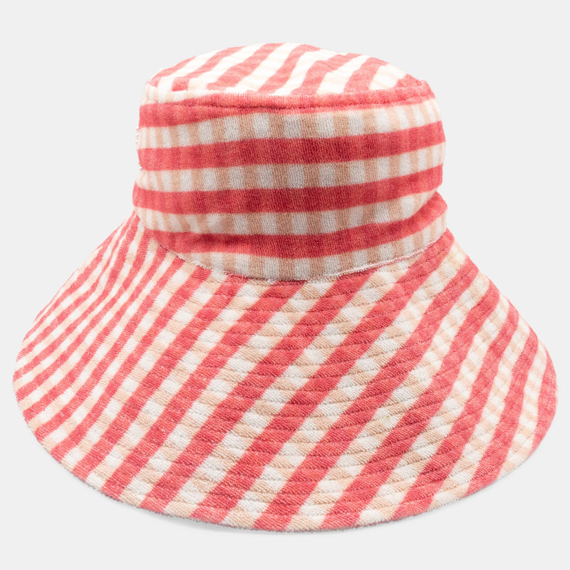 Foppy wide brim, picnic check terry cloth bucket hat designed by Maryjane Claverol  Edit alt text