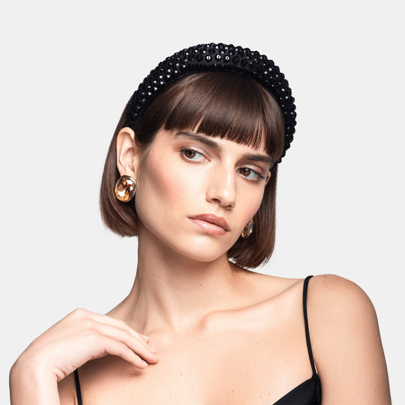 Maryjane Claverol han embroidered crystal puffy headband