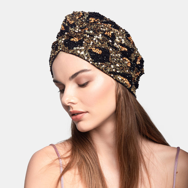 Maryjane Claverol leopard sequin luxury turban