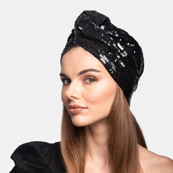 Sequin luxury turban designed by Maryjane Claverol.