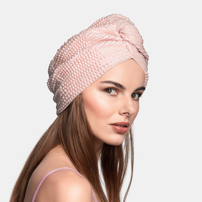 Luxury hand embroidered pearl turban designed by Maryjane Claverol.