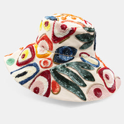 Abstract motif sequin embroidered canvas bucket hat designed by Maryjane Claverol.  Edit alt text