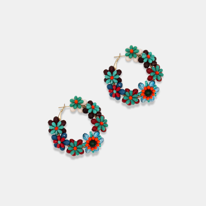 Colorful multiple beaded flowers earrings designed by Maryjane Claverol