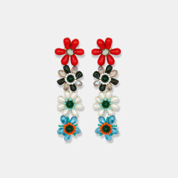 Multicolor multiple beaded flowers earrings designed by Maryjane Claverol
