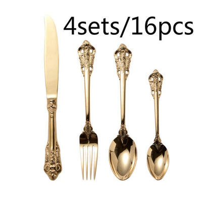 Party Supplies Flatware Sets 16pcs Luxury Gold Retro In Box