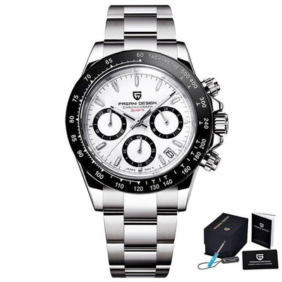 Men's Watches Quartz Chronograph 40mm Stainless Steel Waterproof Sapphire Glass.